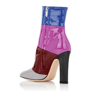 Women's Chunky Heel Boots Stitching Color Patent-leather Ankle Booties