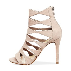 Women's Beige Suede Open Toe  Hollow-out Stiletto Heels Sandals