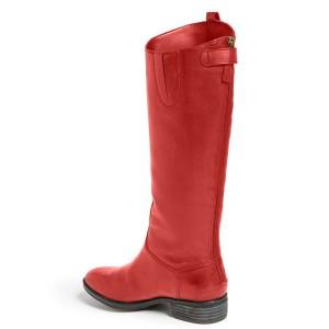 Women's Red Thigh-High Boots Inclined Side Buckle Chunky Heels Comfortable Boots