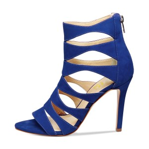 Esther Blue Suede Open Toe  Hollow-out Stiletto Heel  Sandals