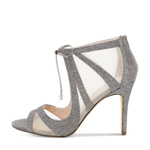 Vita Grey Mesh Lace-up Peep Toe Stiletto Heel Sandals