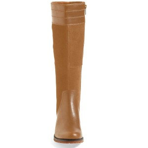 Murstad Long Boots Round Toe Suede Knee High Flat Boots by FSJ
