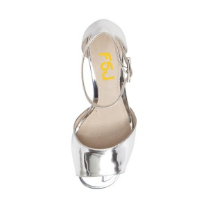 Women's Silver Patent Leather Ankle Strappy Sandals