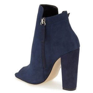 Women's Navy Peep Toe Suede Lace Up Short Chunky Heel Boots