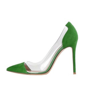 Women's Green Pointed Toe Stiletto Heel Clear Heels Pumps