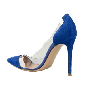 Women's Blue Suede Pointed Toe Stiletto Heel Clear Heels Pumps Shoes