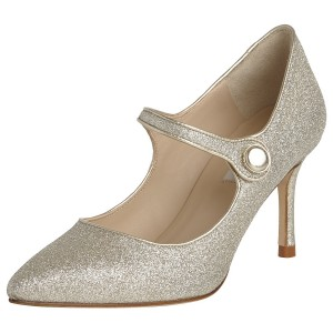 3 inch Heels Champagne Glitter Mary Jane Pumps
