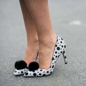 3 inch Heels Off-White Polka Dots Stilettos Fur Heels Pointy Toe Pumps