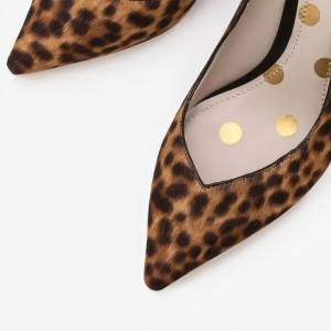 3 inch Heels Leopard Print Heels Horsehair Stiletto Heels Office Shoes