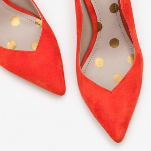 3 inch Heels Orange Office Heels Stiletto Heels Suede High Heels