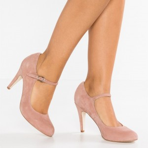 3 inch Heels Pink Mary Jane Shoes Round Toe Pumps