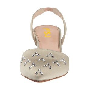 Beige Almond Toe Rhinestone Stiletto Heel Slingback Wedding Pumps
