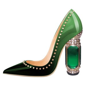 Green Rivet Patent Leather Heels Rhinestone Chunky Heel Pumps