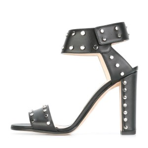 Black Block Heel Sandals Ankle Strap Heels with Silver Studs