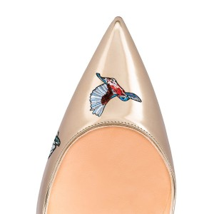 Champagne Animal Floral Stiletto Heels Pointy Toe Wedding Shoes