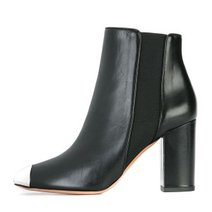 Black Chunky Heel Boots Metal Toe Ankle Boots for Work