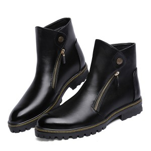 Women's Black Fashion Boots Zip Flat Ankle Boots