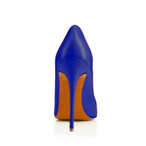Cobalt Blue Shoes Office Heels Pointy Toe Stiletto Heel Pumps by FSJ