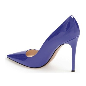 Blue Office Heels Patent Leather Pointy Toe Pumps for Women