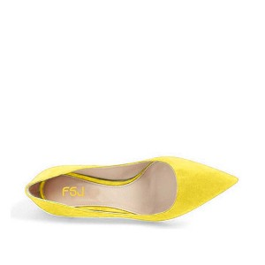 On Sale Yellow Kitten Heels Pointy Toe Suede Pumps Office Shoes