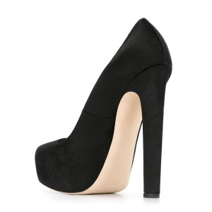 Black Suede 5.5 Inches High Heel Platform Pumps