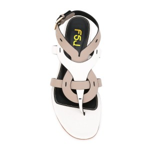 White and Brown Flat Sandals Comfortable Slippers