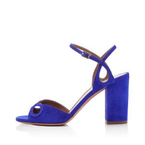 Women's Royal Blue Suede Chunky Heels Ankle Strap Sandals For Prom