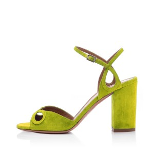 Light Green Chunky Heel Sandals Hollow out Ankle Strap Sandals
