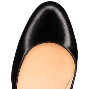 Leila Black Stiletto Heels Patent Leather Round Toe Commuting Pumps