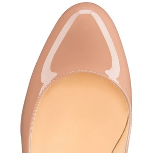 Nude Round Toe Patent Leather Stiletto Heel Pumps