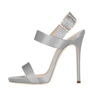 Silver Women's Formal Shoes Stiletto Heel Office Sandals