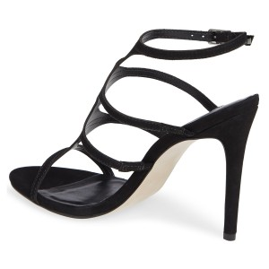 FSJ Black T Strap Sandals Suede Open Toe Stiletto Heels