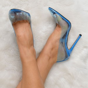 Blue Clear Heels Pointy Toe Stiletto Heels Pumps