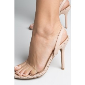 4 inch Heels Blush Slingback Sandals Stiletto Heel Studs Clear Sandals