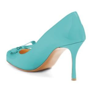 4 inch Heels Cyan Round Toe Stiletto Heels Pumps With Bow