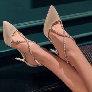 Nude Prom Shoes Pointy Toe Embellished Crisscross Strap Evening Shoes