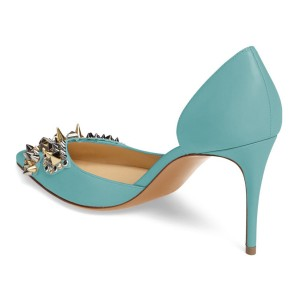 4 inch Heels Light Blue Stiletto Heels Pointy Toe Pumps with Rivets