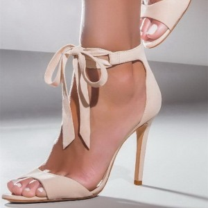 Nude Lace up Heels Open Toe Stiletto Heel Suede Sandals