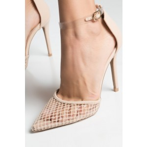 Nude Pointy Toe Plaid Clear Heels Transparent Ankle Strap Pumps