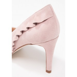 3 inch Heels Light Pink Pointy Toe Stiletto Heels Suede Ruffles Pumps