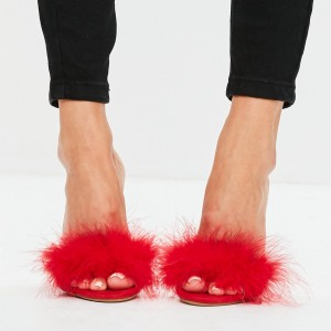 Red Suede Fur Heels Open Toe Stiletto Heel Mules US Size 3-15