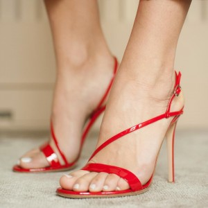 Red Slingback Heels Open Toe Patent Leather Stiletto Heel Sandals