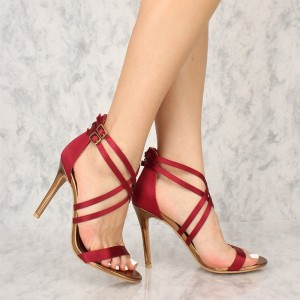 4 inch Heels Red Satin Stiletto Heels Ankle Strap Sandals