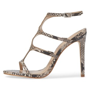 FSJ Snakeskin T Strap Sandals Open Toe Stiletto Heels