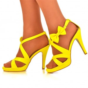 4 inch Heels Yellow Bow Open Toe Pencil Heels Ankle Strap Sandals