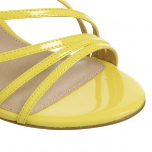 Yellow Patent Leather Office Sandals Open Toe Dressy Stiletto Heels