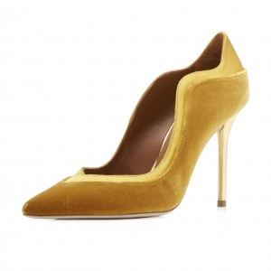4 inch Heels Yellow Velvet Pointy Toe Stiletto Heels Pumps for Women