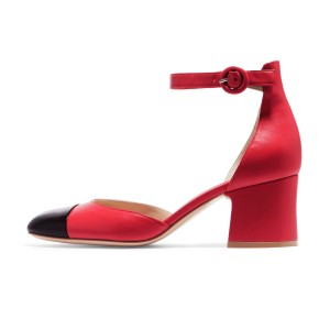 Women's Red Ankle Strap  Vintage Chunky Heels Pumps Shoes