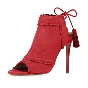 Red Summer Boots Peep Toe Tassels Slingback Ankle Booties
