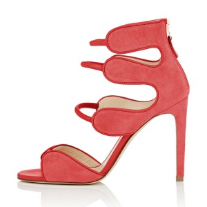 Women's Orange Open Toe Strappy Hollow Out  Stiletto Heels  Sandals